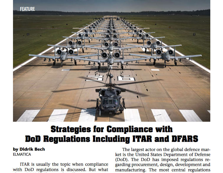 Article about DoD Compliance Regulations, DFARS and ITAR by Didrik Bech.